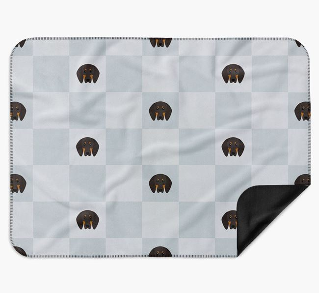 Luxury Black and Tan Coonhound Checkerboard Blanket