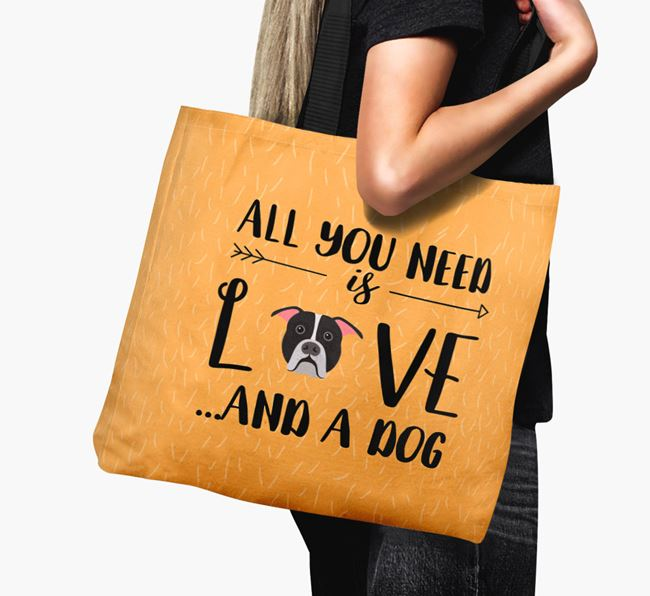'All You Need Is Love...' Canvas Bag with American Bulldog Icon