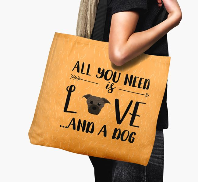 'All You Need Is Love...' Canvas Bag with American Staffordshire Terrier Icon