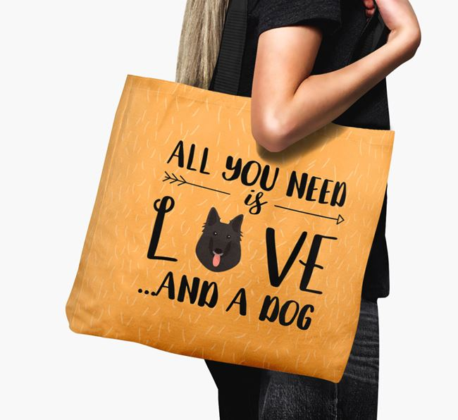'All You Need Is Love...' Canvas Bag with Belgian Groenendael Icon