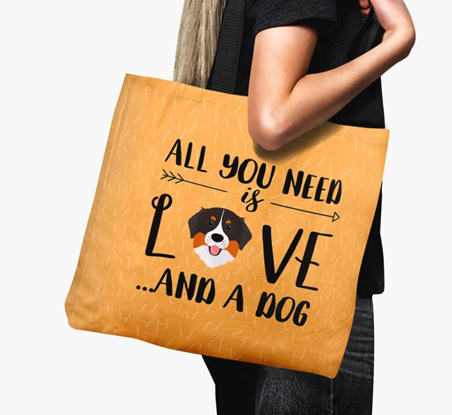 'All You Need Is Love...' Canvas Bag with Bernese Mountain Dog Icon