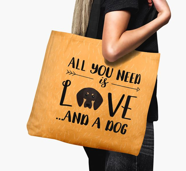 'All You Need Is Love...' Canvas Bag with Black and Tan Coonhound Icon