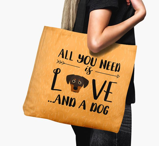 'All You Need Is Love...' Canvas Bag with Blue Lacy Icon