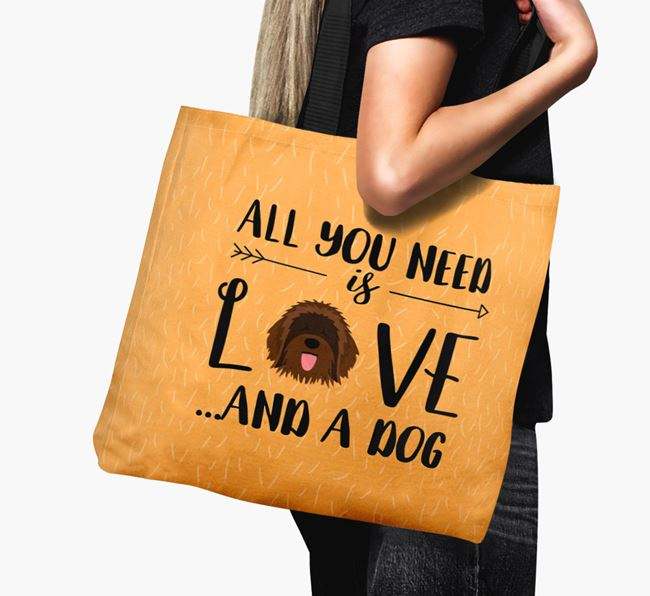 'All You Need Is Love...' Canvas Bag with Catalan Sheepdog Icon