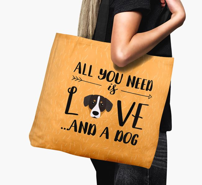 'All You Need Is Love...' Canvas Bag with Entlebucher Mountain Dog Icon
