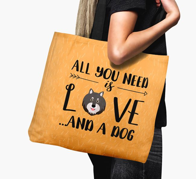 'All You Need Is Love...' Canvas Bag with Finnish Lapphund Icon