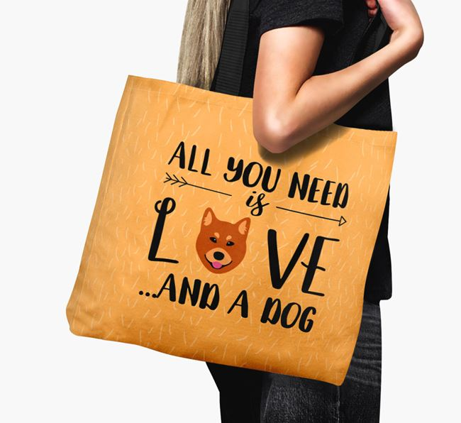 'All You Need Is Love...' Canvas Bag with Finnish Spitz Icon