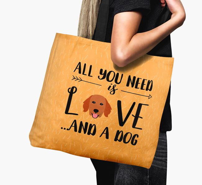 'All You Need Is Love...' Canvas Bag with Flat-Coated Retriever Icon