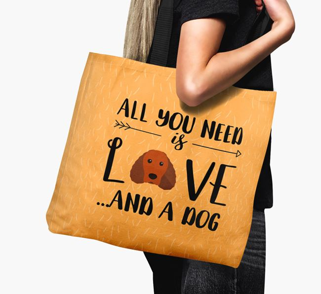 'All You Need Is Love...' Canvas Bag with Irish Water Spaniel Icon