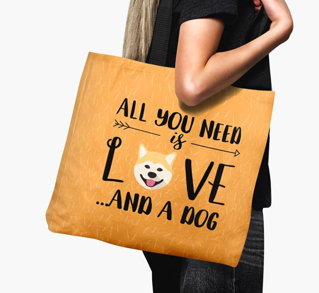 'All You Need Is Love...' Canvas Bag with Japanese Akita Icon