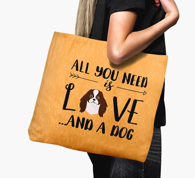'All You Need Is Love...' Canvas Bag with Japanese Chin Icon