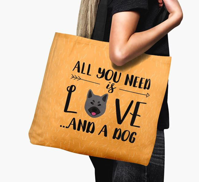 'All You Need Is Love...' Canvas Bag with Norwegian Elkhound Icon