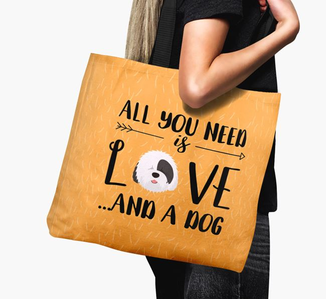 'All You Need Is Love...' Canvas Bag with Old English Sheepdog Icon