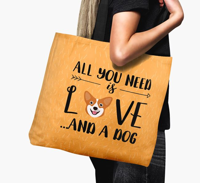 'All You Need Is Love...' Canvas Bag with Pembroke Welsh Corgi Icon