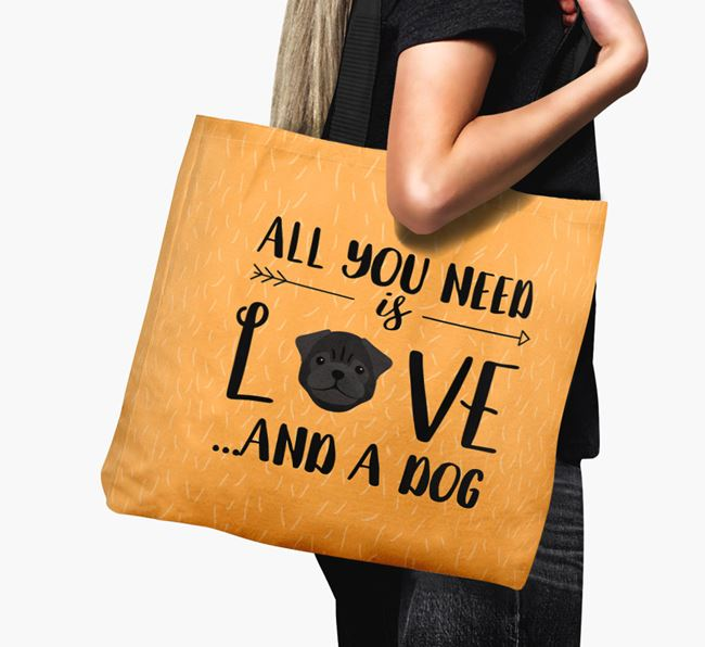 'All You Need Is Love...' Canvas Bag with Pug Icon