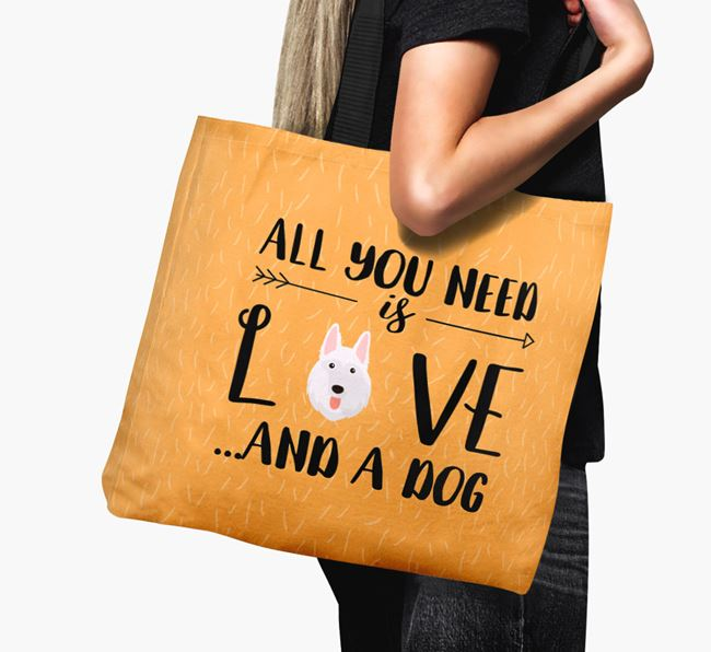 'All You Need Is Love...' Canvas Bag with White Swiss Shepherd Dog Icon