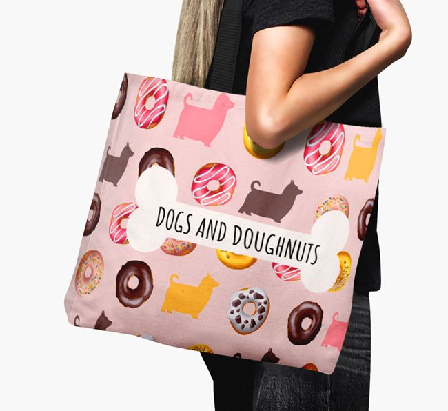 Canvas Bag 'Dogs & Donuts' with Australian Silky Terrier Silhouettes