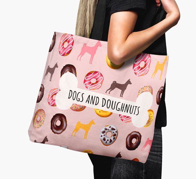Canvas Bag 'Dogs & Donuts' with Basenji Silhouettes