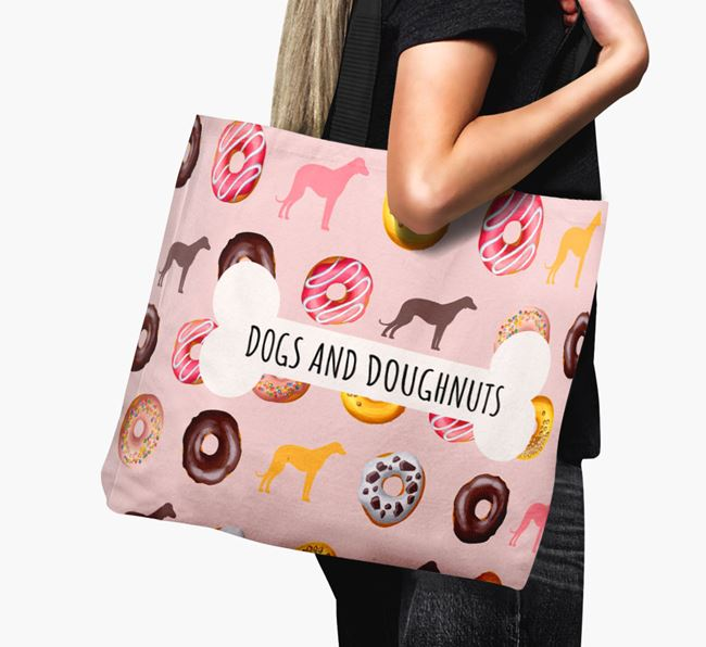 Canvas Bag 'Dogs & Donuts' with Bedlington Whippet Silhouettes