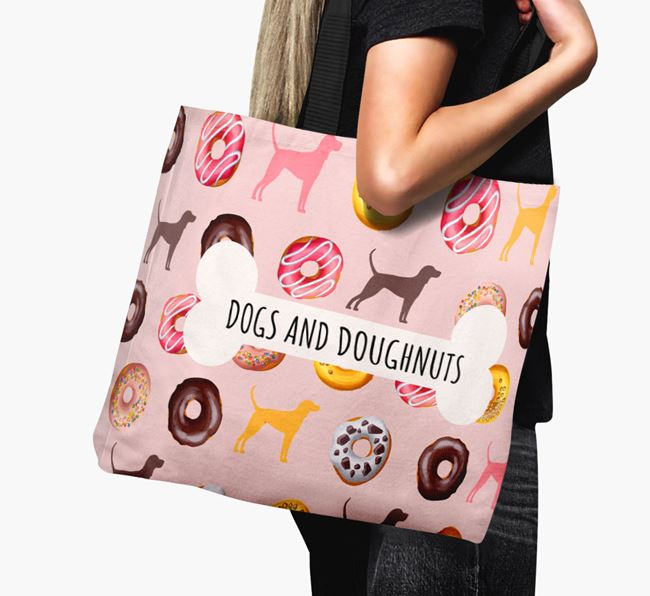 Canvas Bag 'Dogs & Donuts' with Black and Tan Coonhound Silhouettes