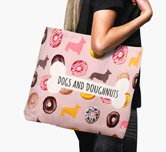 Canvas Bag 'Dogs & Donuts' with Cardigan Welsh Corgi Silhouettes
