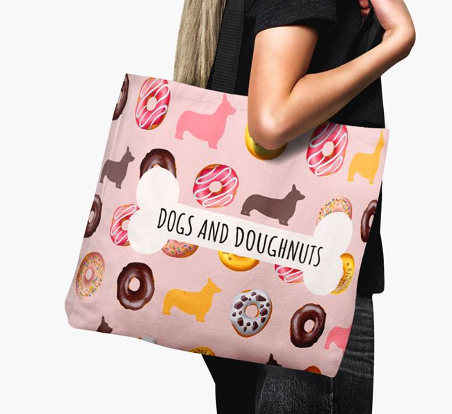 Canvas Bag 'Dogs & Donuts' with Corgi Silhouettes