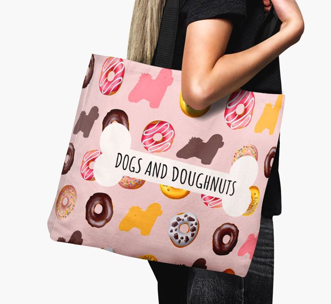 Canvas Bag 'Dogs & Donuts' with Coton De Tulear Silhouettes