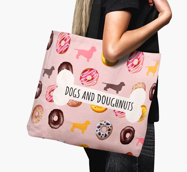 Canvas Bag 'Dogs & Donuts' with Doxiepoo Silhouettes