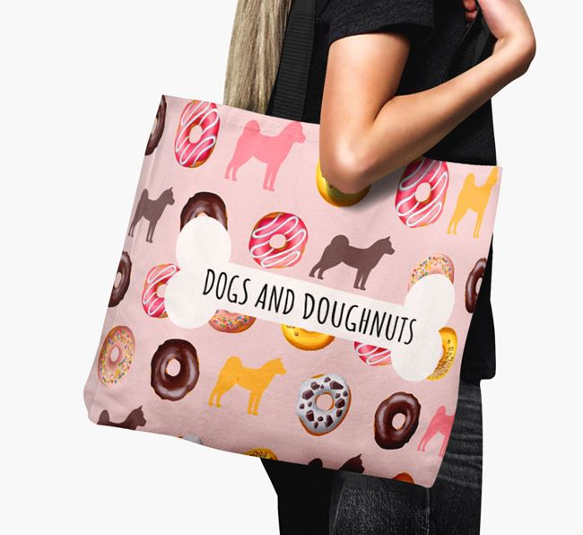 Canvas Bag 'Dogs & Donuts' with Finnish Spitz Silhouettes