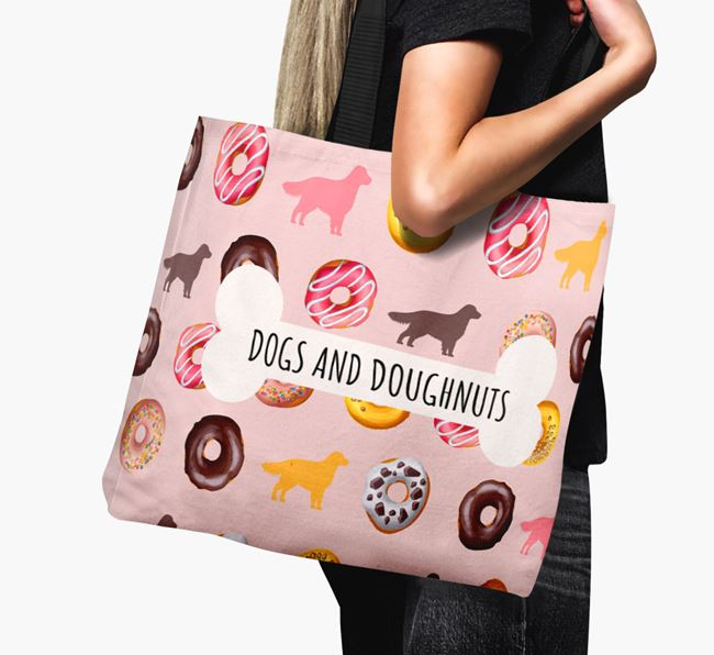 Canvas Bag 'Dogs & Donuts' with Flat-Coated Retriever Silhouettes