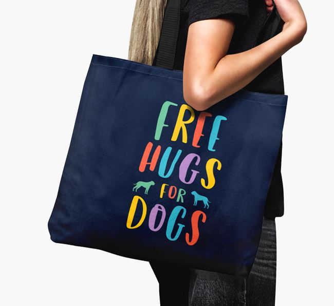 'Free Hugs for Dogs' Canvas Bag with American Bulldog Silhouette