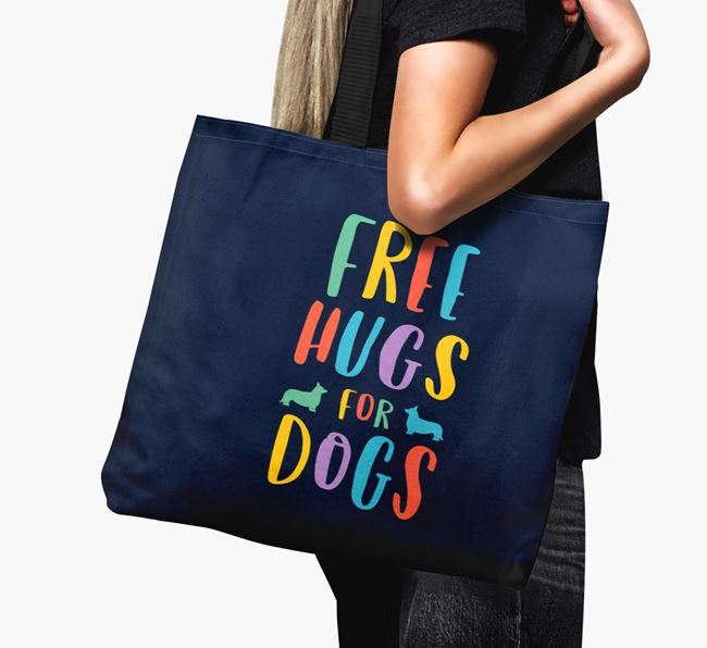 'Free Hugs for Dogs' Canvas Bag with Cardigan Welsh Corgi Silhouette
