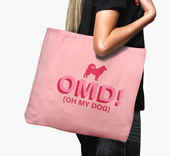 Canvas Bag 'Oh My Dog' with Alaskan Malamute Silhouette