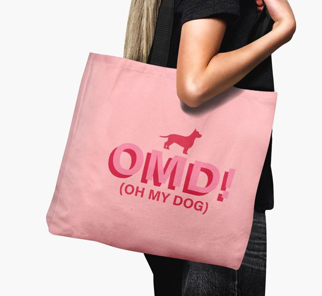 Canvas Bag 'Oh My Dog' with Chiweenie Silhouette