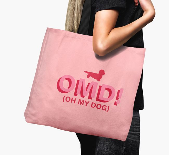 Canvas Bag 'Oh My Dog' with Dandie Dinmont Terrier Silhouette