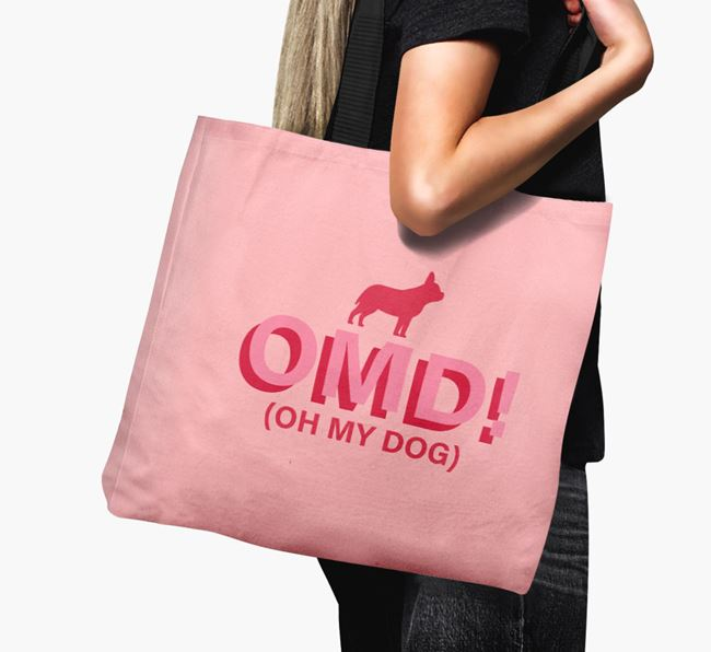 Canvas Bag 'Oh My Dog' with Frenchie Staff Silhouette