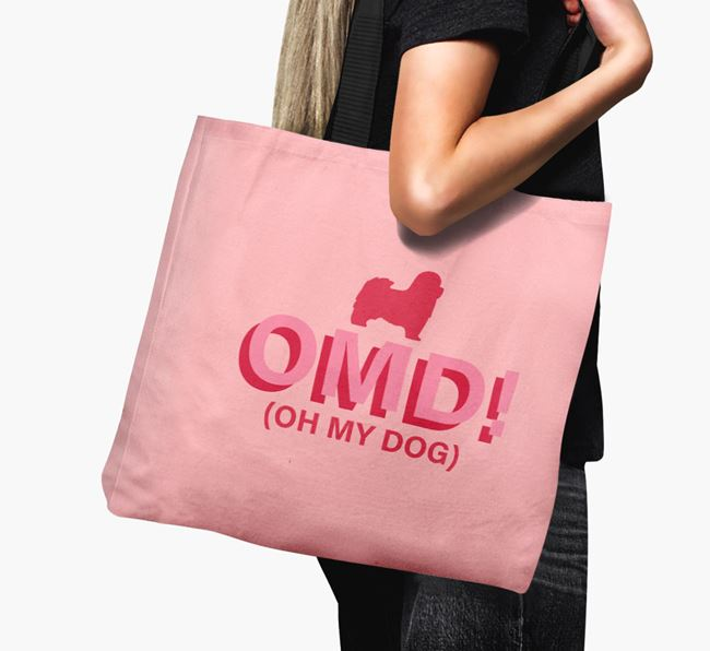 Canvas Bag 'Oh My Dog' with Havanese Silhouette