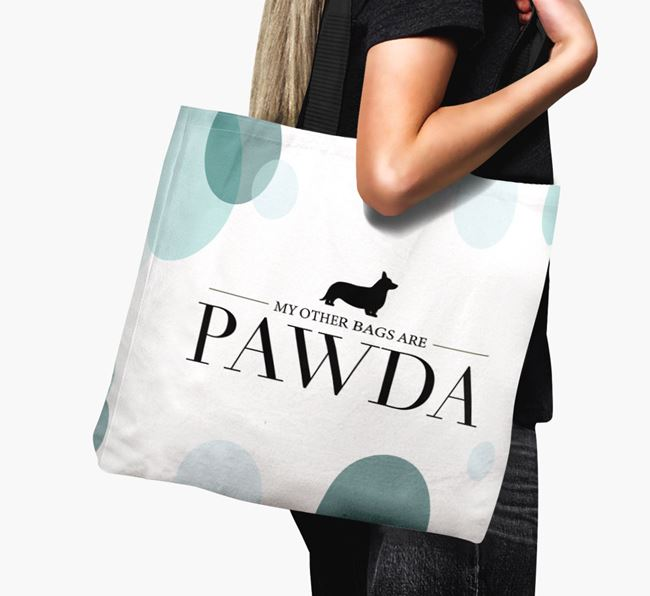 Pawda Canvas Bag with Cardigan Welsh Corgi Silhouette