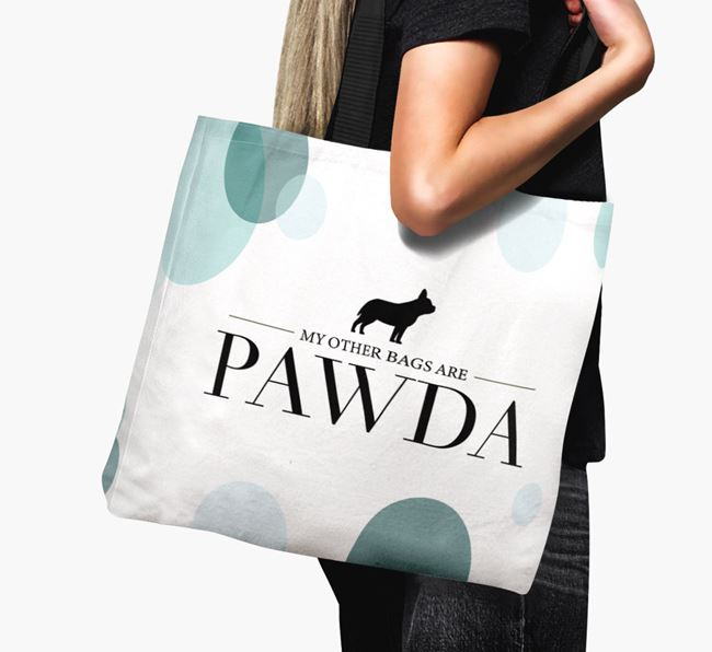 Pawda Canvas Bag with Frenchie Staff Silhouette