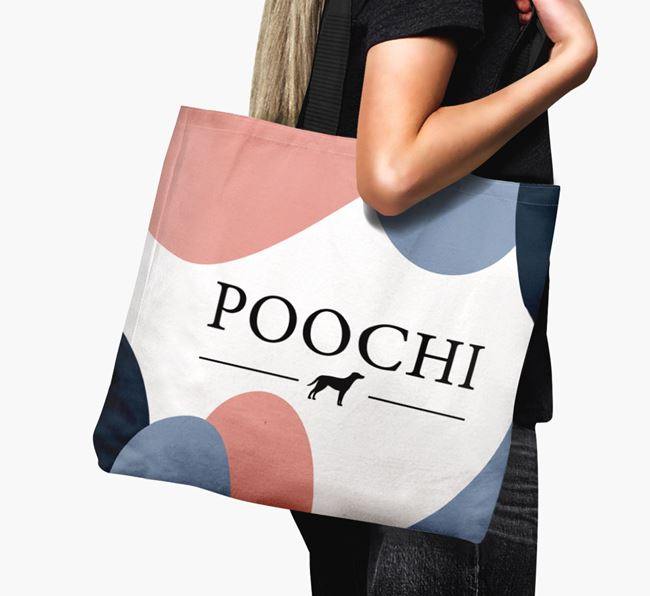 'Poochi' Canvas Bag with Blue Lacy Silhouette