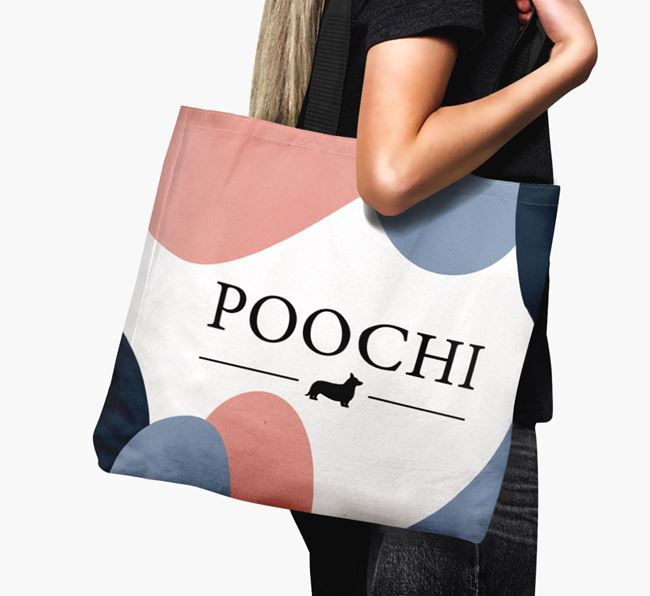 'Poochi' Canvas Bag with Cardigan Welsh Corgi Silhouette