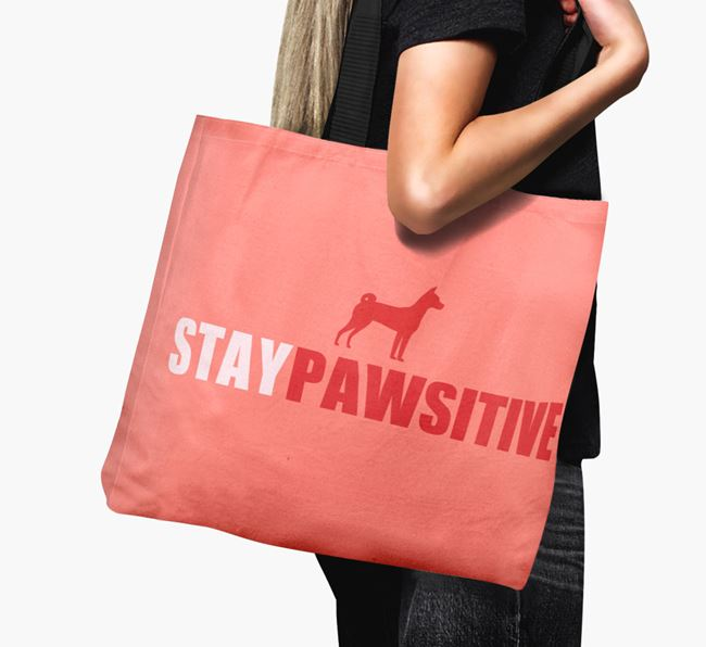 Canvas Bag 'Stay Pawsitive' with Basenji Silhouette