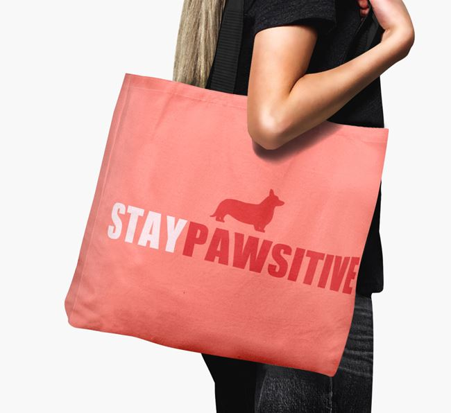 Canvas Bag 'Stay Pawsitive' with Cardigan Welsh Corgi Silhouette