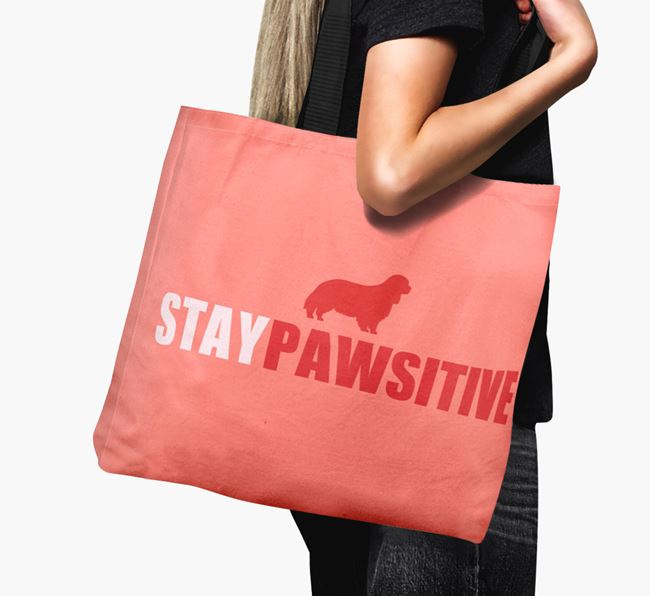 Canvas Bag 'Stay Pawsitive' with Cavalier King Charles Spaniel Silhouette