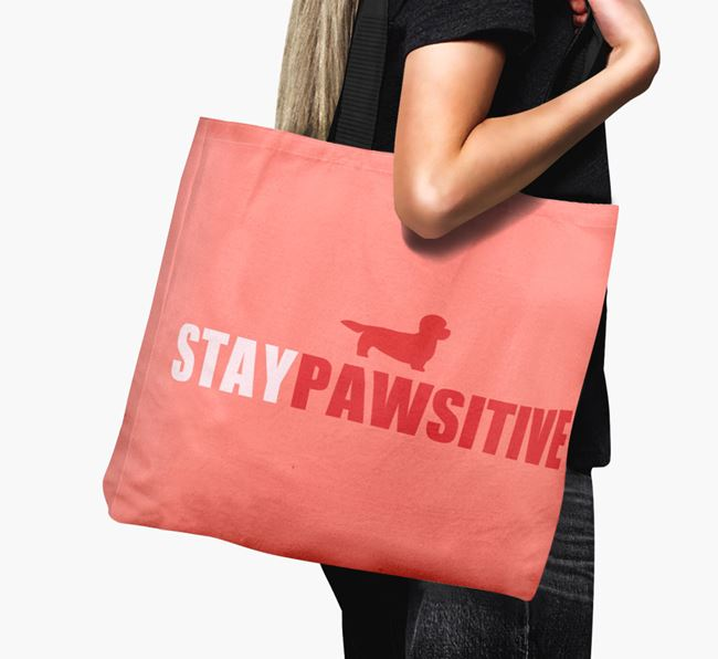 Canvas Bag 'Stay Pawsitive' with Dandie Dinmont Terrier Silhouette