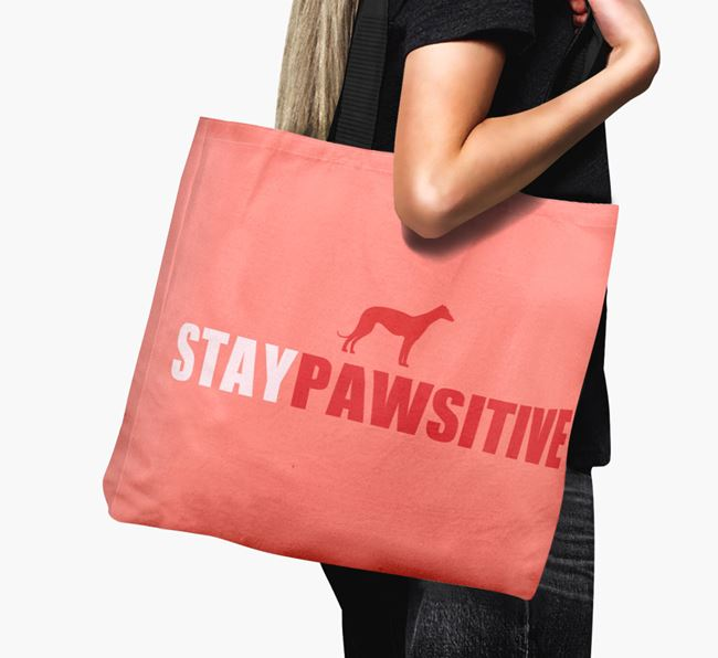 Canvas Bag 'Stay Pawsitive' with Greyhound Silhouette