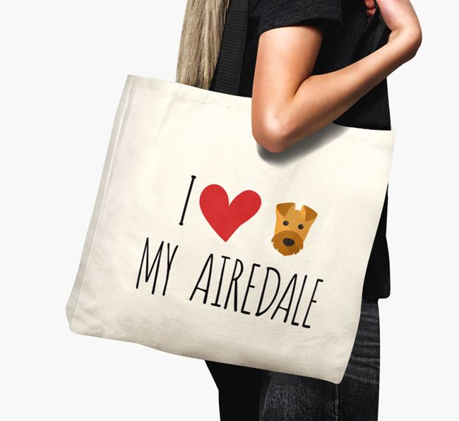 'I love my Airedale' Canvas Bag