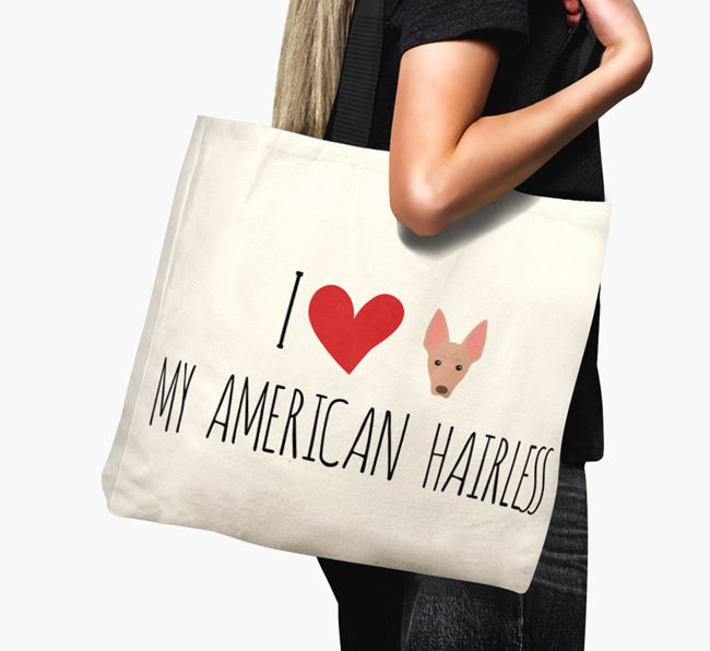 'I love my American Hairless' Canvas Bag