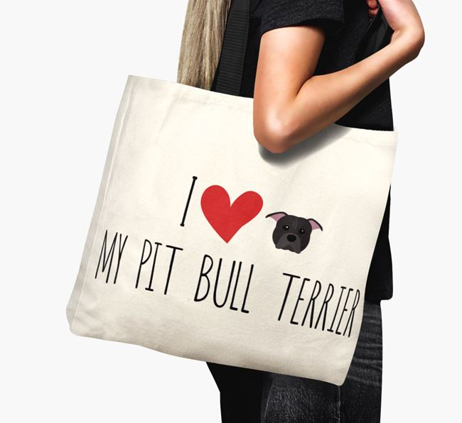 'I love my Pit Bull Terrier' Canvas Bag