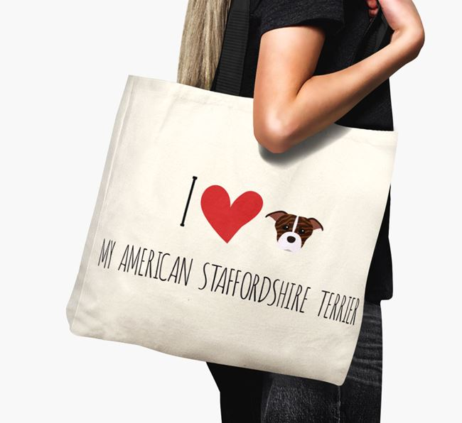 'I love my American Staffordshire Terrier' Canvas Bag